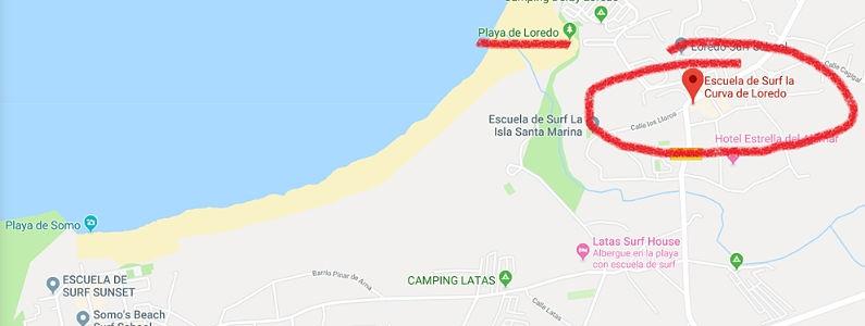 Escuela de surf la curva en loredo, cantabria